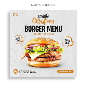 Merry christmas delicious burger and food menu social media banner template