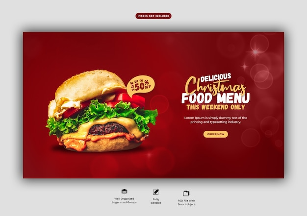 Merry christmas delicious burger and food menu web banner template