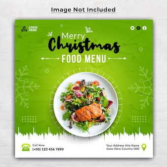 С рождеством христовым вкусное меню еды шаблон баннера в социальных сетях