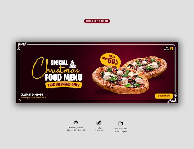 Веселое рождественское меню еды и шаблон баннера на обложке вкусной пиццы