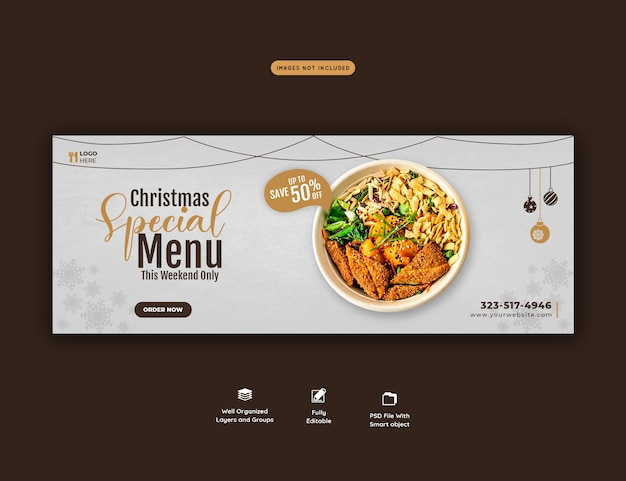 メリークリスマスフードメニューとレストランのfacebookカバーテンプレート