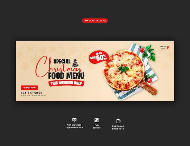 Menu di cibo di buon natale e modello di banner copertina deliziosa pizza
