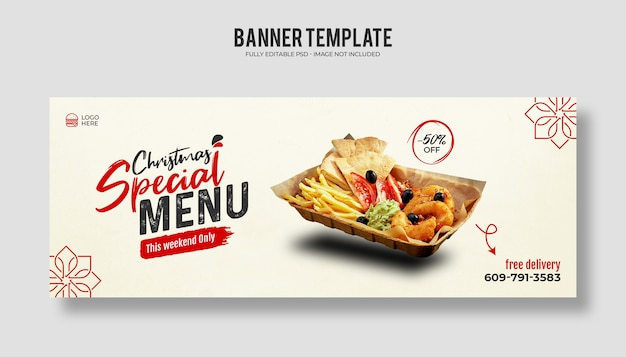 Merry christmas food menu and delicious pizza facebook cover banner template