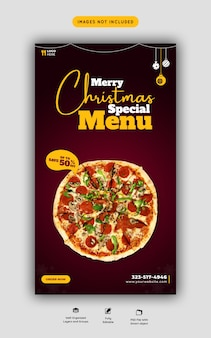 Merry christmas food menu and delicious pizza instagram and facebook story template