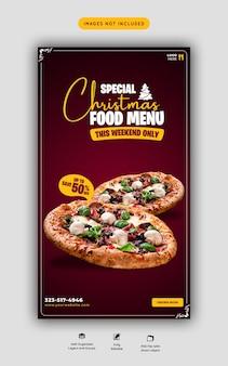 Buon natale menu di cibo e deliziosa pizza modello di storia dei social media