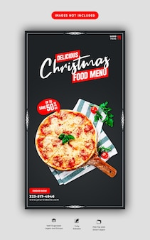 Merry christmas food menu and delicious pizza social media story template
