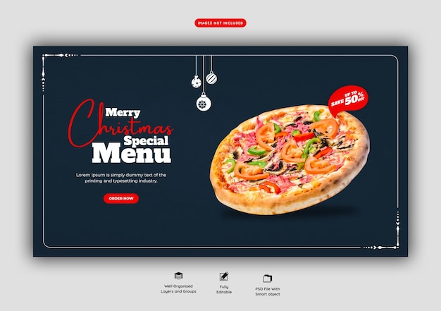 Merry christmas food menu and delicious pizza web banner template