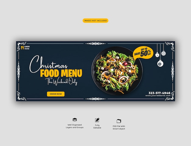 Merry christmas food menu and restaurant cover template