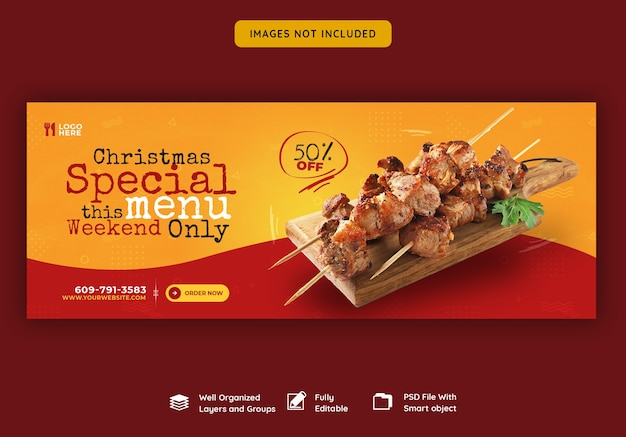 Merry christmas food menu and restaurant facebook cover template
