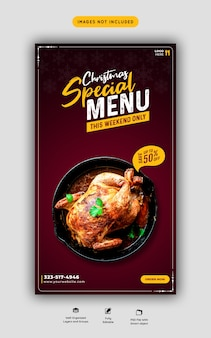 Merry christmas food menu and restaurant instagram and facebook story template