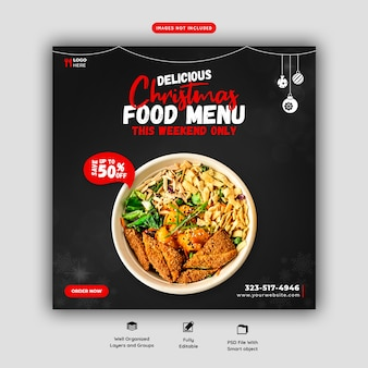Merry christmas food menu and restaurant social media banner template