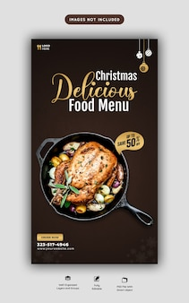 Merry christmas food menu and restaurant social media story template