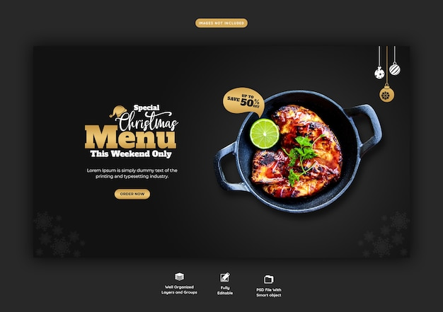 Merry christmas food menu and restaurant web banner template