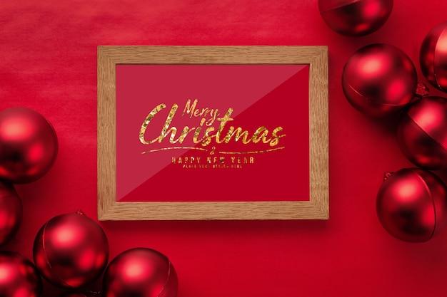 Merry christmas frame mockup with christmas balls
