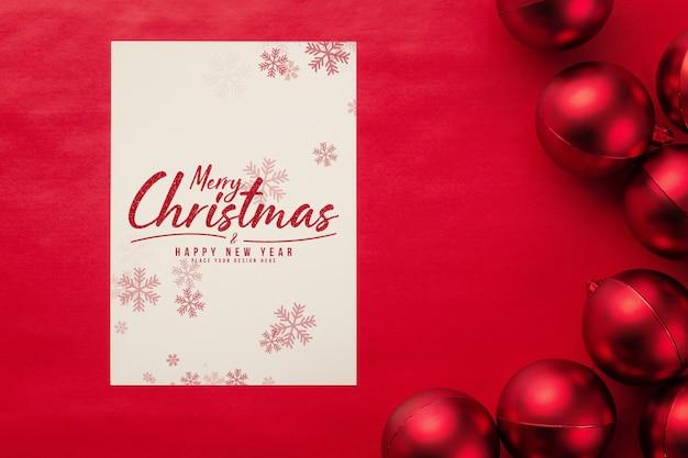메리 크리스마스 인사말 카드 및 봉투 모형