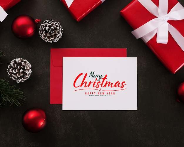 Merry christmas greeting card and envelope mockup