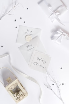 Merry christmas greeting card mockup and envelope