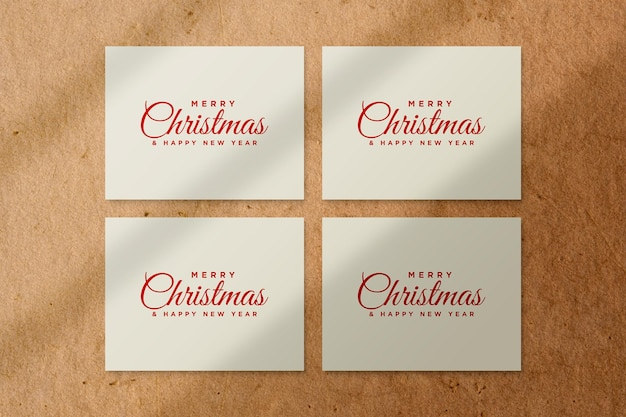 Merry christmas greeting card mockup psd with shadow