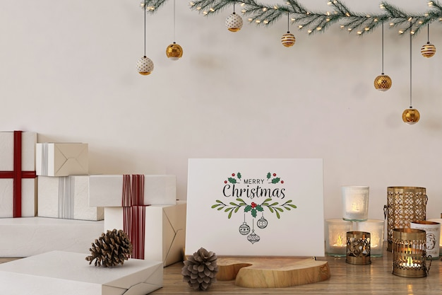 Merry christmas greeting card mockup with christmas decoration and presents
