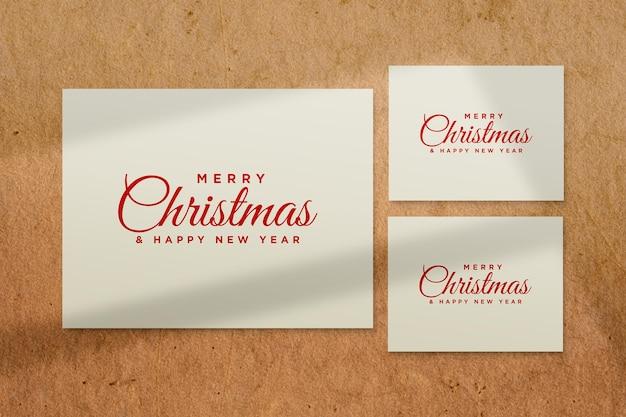 Merry christmas greeting card mockup with shadow