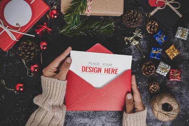 메리 크리스마스 인사말 카드 모형