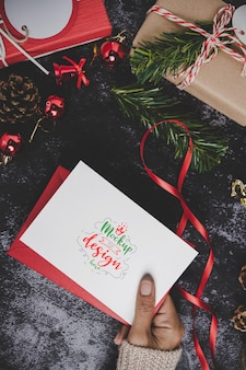 Merry christmas greeting card mockup