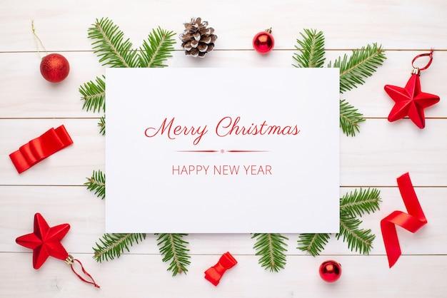 メリークリスマスグリーティングカードのモックアップ