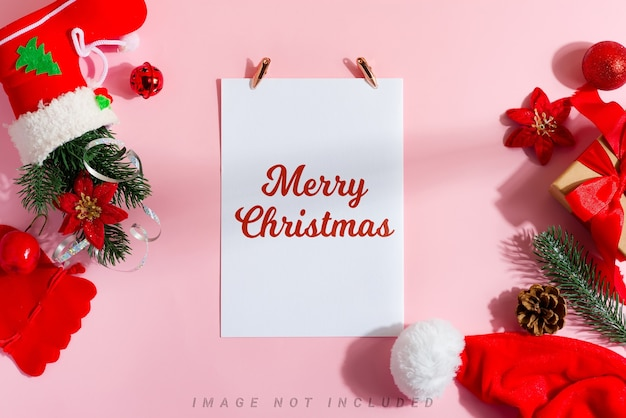 Merry christmas greeting card with accessories and gift boxes