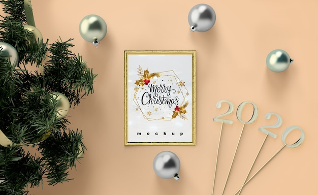 Merry christmas greeting in frame mock-up