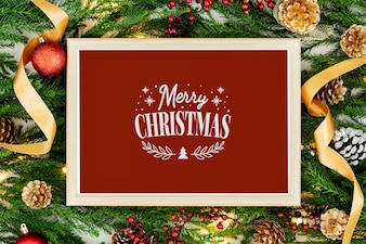 Merry Christmas greeting in a frame mockup