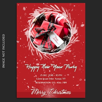 Merry christmas and happy new year 2019 photo mockup and invitation card or flyer template