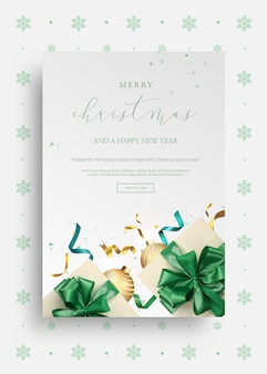 Merry christmas and happy new year 2020 greeting card template