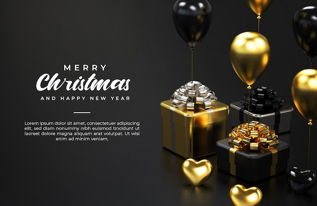 Merry christmas and happy new year banner template with gift boxes and balloons