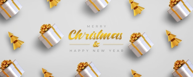 Merry christmas and happy new year banner template with gift boxes and pine tree