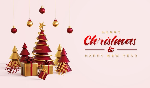 Merry christmas and happy new year banner template with pine tree, gift boxes and hanging lamps