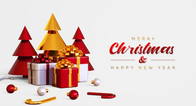 Merry christmas and happy new year banner template with pine tree, gift boxes and lamps
