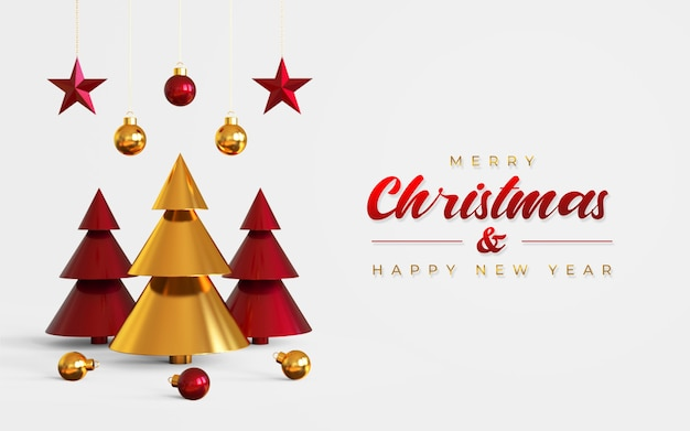Merry christmas and happy new year banner template with pine tree, hanging lamps and stars