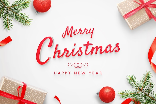 Merry christmas and happy new year greeting card 3d text mockup