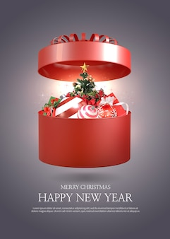 Merry christmas and happy new year greeting card template