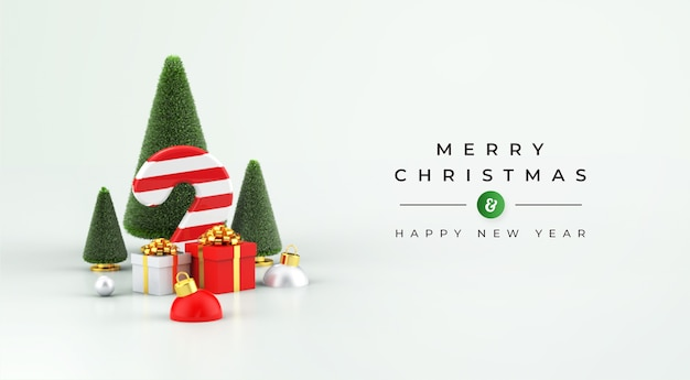 Merry christmas and happy new year mockup with 3d christmas decoration