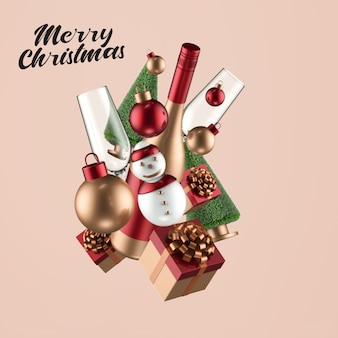 Merry christmas and happy new year mockup
