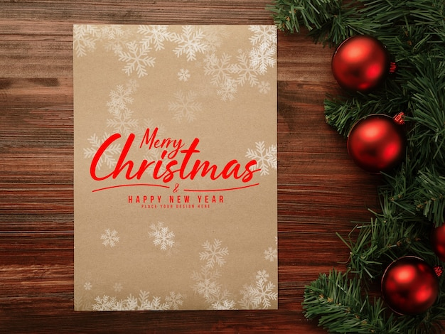 Merry christmas and happy new year poster mockup