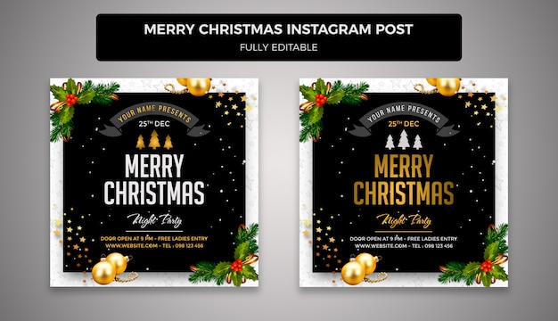 Merry christmas and happy new year social media post banner template