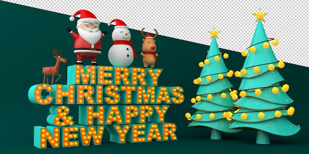 Merry christmas and happy new year text with christmas illustrations