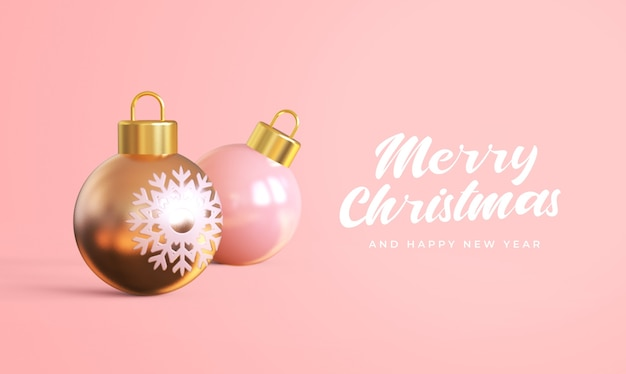 Merry christmas and happy new year with 3d christmas balls mockup
