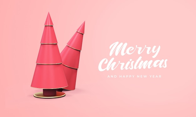 Merry christmas and happy new year with 3d pine tree mockup