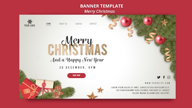 Merry christmas and happy new year with globes banner
