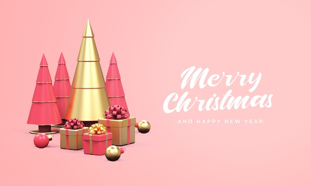 Merry christmas and happy new year with pine trees, gift boxes, and christmas balls mockup