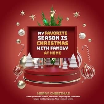 С рождеством христовым праздничное мероприятие для продвижения и празднования в социальных сетях на красной 3d иллюстрации