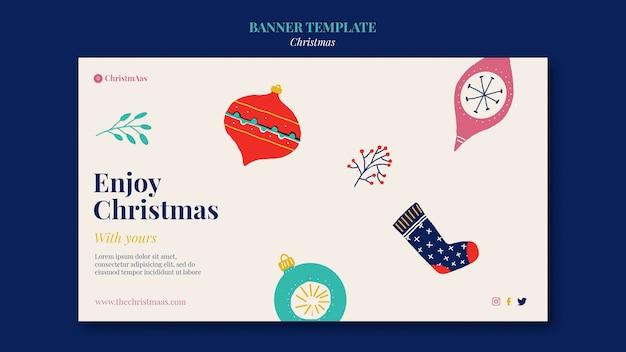 Счастливого рождества горизонтальный баннер шаблон